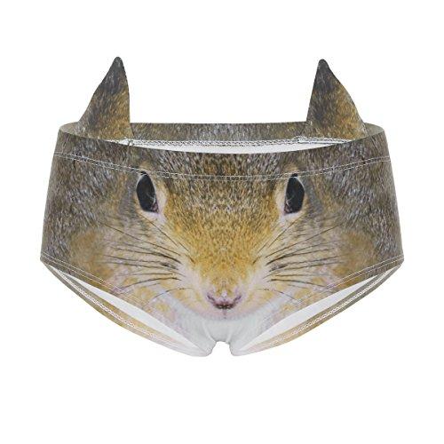 CHICTRY Der Tier-Katzen-Druck der Frauen druckt Nette Druck-Schriftsätze mit den Ohren, Nette Katze 3D gedruckte Hippie-Unterwäsche Eichhörnchen Stil One Size