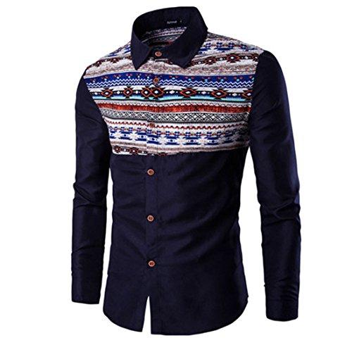 Men's National Retro Style Long Sleeve Casual Shirts Navy