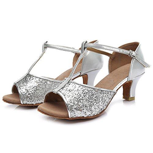 HROYL Chaussures de Danse Pour Femmes/Chaussures de Danse Latine Paillette Ballroom Modèle 216 5CM Argent