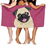 Gebrb Toallas de baño, Unisex Beach Towel, Baby Bath Towels, Cute Funny Pugs, Oversized Foot Best Bath Towel Beach Towels for Men, Bath Set Bathroom Accessories