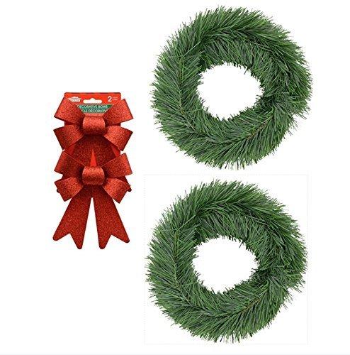 Hall Tree Set (Christmas Garland Faux Kiefer Set von 2mit 2Glitzernden Rot Bögen je 15Füße)