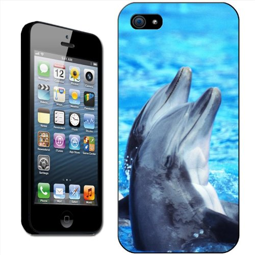 Dauphins Coque arrière rigide détachable pour Apple iPhone modèles, plastique, Dolphins Jumping In The Sea, iPhone 5/5s Dolphins Playing In Water