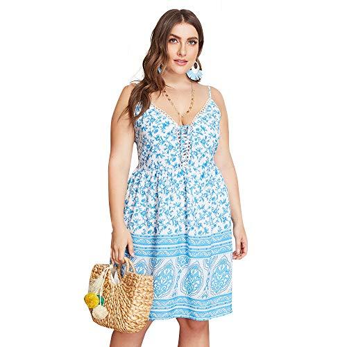 X&Armanis Bohemian Sling Dress, Robe décontractée imprimée en Grande Taille Robe de Plage sexy en Dentelle à col en V (bleu),3XL -