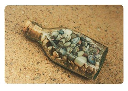Schreibtischunterlage Motiv: Flaschenpost mit Muscheln im Sand 40 x 60 cm abwischbar