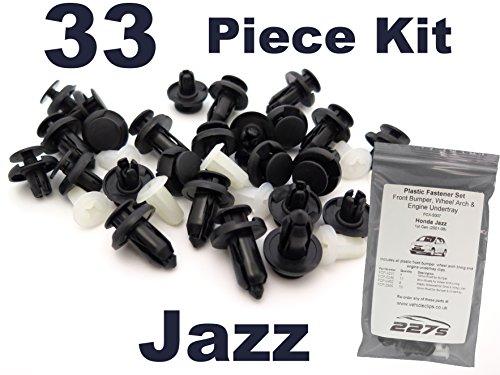 33 Pièces - Garniture En Plastique Assortiment Clip Kit de Montage - Honda Jazz (2001 - 2008) Pare-chocs, passage de roue