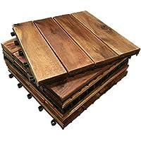 6 x Acacia de madera de madera con anillas en forma de láminas de diseño cilíndrico azulejos, 4, diseño de jardín, balcones, efecto. 30 cm cuadrado tabla para azulejos
