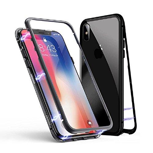 iPhone 8 Plus / 7 Plus Hülle, Jonwelsy Metallrahmen Magnetische Adsorption Handyhülle mit eingebautem Magnetklappdeckel, Ultra Dünn Gehärtetes Glas Transparente Back Cover, Schwarz Back Cover Blende