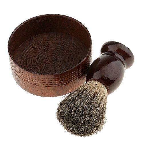 Gazechimp Blaireau de Poils Sangliers Pinceau Brosse de Rasage + Tasse de Rasage Bol de Raser en Bois pour Savon Barbe