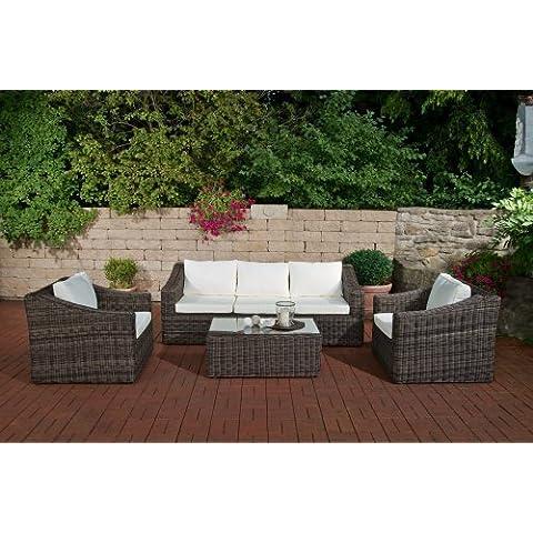 CLP - Set giardino Bemalda composto da divano a 3 posti, 2 poltrone e 1 tavolo con superficie in vetro e dimensioni: 101 x 58 cm, inclusivo di materassini e cuscini, in polyrattan, colore: Grigio mèlange