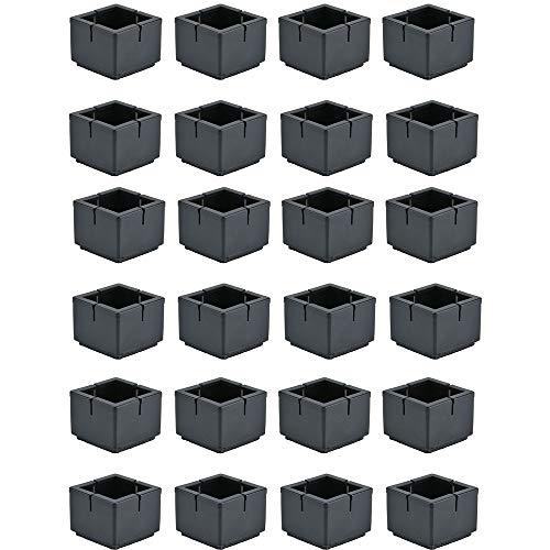 Mogokoyo 24 x Stuhlbeinkappen Silikon Stuhlbein Fußboden Schutz Möbel Tischabdeckung Furniture Tisch Hocker Bein Covers Pads Protectors für 30-35MM Quadratisch Beine (Schwarz) (Kunststoff-tabelle-cover Schwarzes)