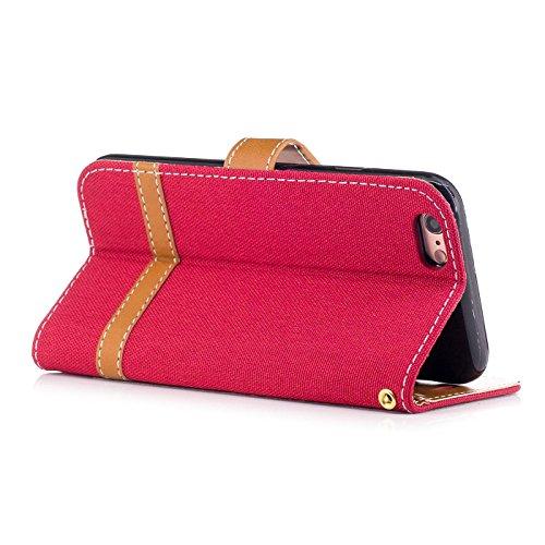 iPhone 6s Plus 5,5Zoll Schutzhülle,iPhone 6 Plus Leder Hülle,TOYYM Ultra Dünn Full Body Protection Flip Leder Wallet Brieftasche Case 3 in 1 Handytasche mit Stand Funktion Kartenfächer Magnetverschlus Rot