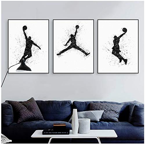 Leinwand Wand Aquarell basketball malerei poster abstrakte wandbild malerei wohnzimmer dekoration leinwand malerei-50x70 cm Kein Rahmen