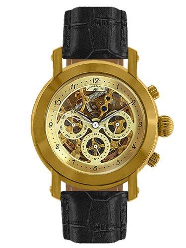 André Belfort 410046 - Reloj analógico de caballero automático con correa de piel negra - sumergible a 50 metros