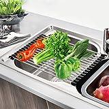 faylapa Spüle Rack–Mehrzweck Edelstahl aufrollbar Abtropfgestell für Küche Spüle Trocknen