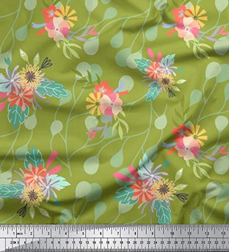 Soimoi Grun Samt Stoff Blätter & Blumen kunstlerisch Stoff drucken 1 Meter 58 Zoll breit