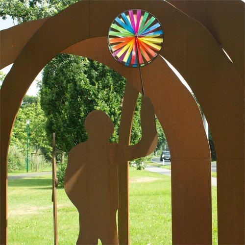 Windspiel – Magic Wheel Twin 45 – UV-beständig und wetterfest – Windräder: 2xØ45cm, Höhe: 112cm – inkl. Fiberglasstab - 2