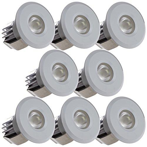 Sensati Kleine Miniatur LED Einbauleuchte Downlight Spot Set zu 4 Stück, dimmbar, 600 lm, inklusive Treiber, Gehäusefarbe weiß, kaltweiß T102 8 CW W -
