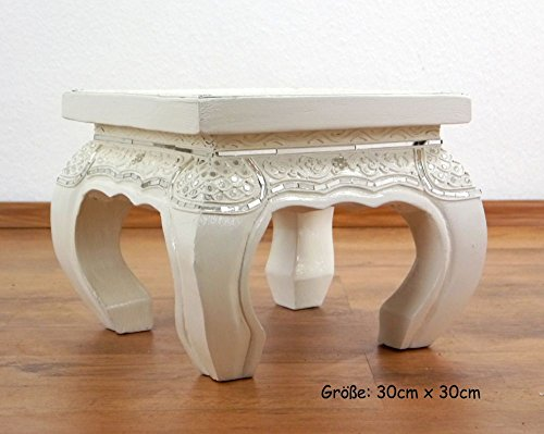 Asia Wohnstudio White Opium Table/Coffee Table/End Table, Glass Mosaic Look, Choose Size, Handmade in Thailand (30cmx30cm)