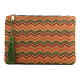 Otto Angelino Pochette di Design da Donna in tessuto con Nappina sulla Zip - Perfetta per organizzare la borsa, per trucchi, chiavi, specchietto e carte di credito