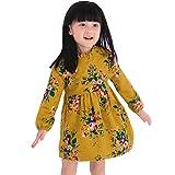 Longra Kleinkind Kinder Baby Mädchen Kleidung mit lumen Mädchen kleid Langarm Warm Party Princess Kleider (130CM 5Jahre, Yellow)