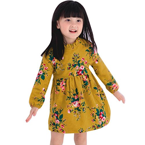 Longra Kleinkind Kinder Baby Mädchen Kleidung mit lumen Mädchen kleid Langarm Warm Party Princess Kleider (90CM 1Jahre, Yellow) (Bögen Geburtstag Shirt)