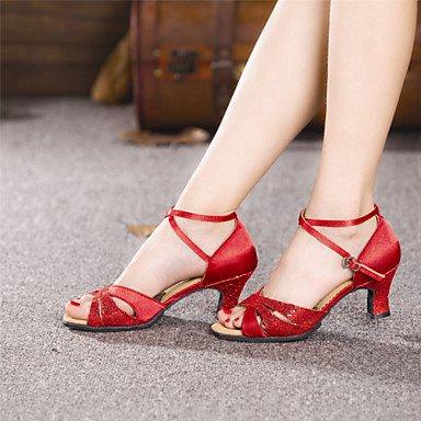 Silence @ Chaussures de danse pour femme en satin Latin/paillettes Talon cubain Plus de couleurs Silver