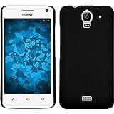 PhoneNatic Case für Huawei Y360 Hülle schwarz gummiert Hard-case + 2 Schutzfolien
