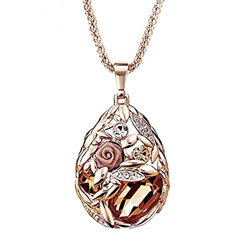 Rose Gold überzogene Blumen-hängende Halskette mit Swarovski Kristall für Frauen
