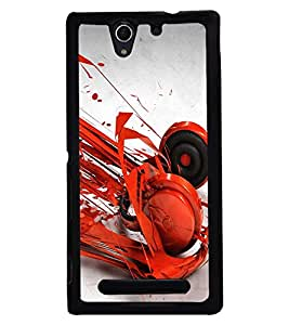 PRINTSWAG RED HEADPHONES Designer Back Cover Case for SONY XPERIA C3