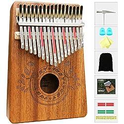 Kalimba - Thumb Piano 17 teclas con instrucciones de estudio y martillo de afinación, piano mbira de madera africano portátil para niños y adultos principiantes