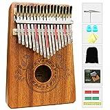 Kalimba Daumenklavier 17 Schlüssel Daumen-Klavier mit Lernanleitung und Stimmhammer, tragbares Mbira Sanza afrikanisches Holz Finger-Klavier für Kinder Erwachsene Anfänger