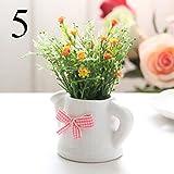 FYYDNZA Kleine Künstliche Pflanzen Dekorative Gypsophila Blumen Mini Topf Wasserkocher Bonsai 1 Satz (Pflanzen + Vase), 5