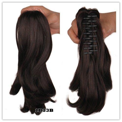 WIAGHUAS Frauen Mädchen Lockige Natrual Blonde Schwarz Braun Klaue Pferdeschwanz Haarteil Clip In Synthetische Haarverlängerung Pony Tail T1B/33/27 12 ()