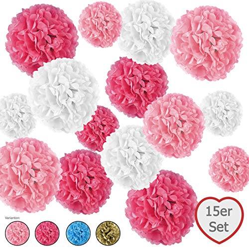 r Pompoms, inkl. Satinbänder (je 1.20m), inkl. Geschenkverpackung, mit Deutscher Videobastelanleitung (rosa, pink, weiß) ()