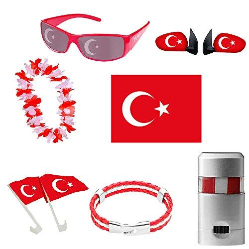 Piersando Fan Set Türkei Fussball EM & WM Länderflagge Fanartikel Land Auto Fahne Flagge Kette Schminke Brille