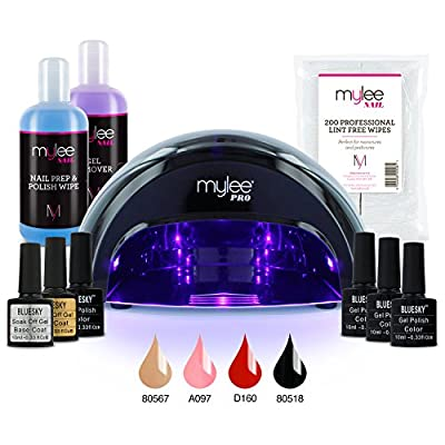 Mylee Professional Gel Polish Complete LED Kit Including 4 Bluesky Colours, Top & Base Coat, Mylee PRO Salon Series Convex LED Lamp, Mylee Prep & Wipe, Gel Remover and 200 Lint Free Wipes from MYLEE