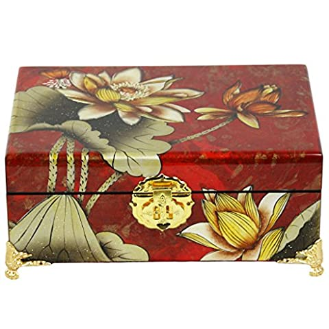 Oriental Chinese Lacquered Deluxe Jewellery Box - Red - with Flowers - Gold Feet - E1-21-002