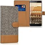 kwmobile Funda para Xiaomi Mi Note 2 - Wallet Case plegable de cuero sintético - Cover con tapa tarjetero y soporte en gris marrón