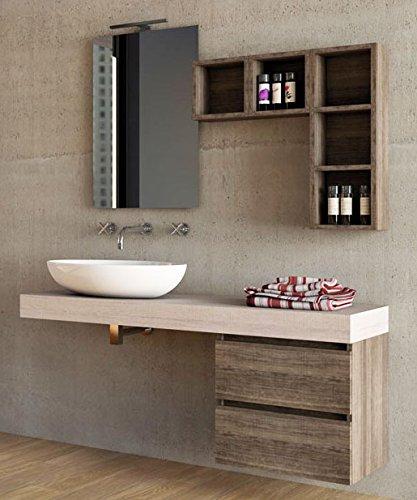 Mobile da bagno specchio con luci a led for Top per lavabo da appoggio ikea