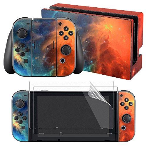 eXtremeRate Skin Pelle Pellicola Protettiva Sticker Adesivo con Protezioni per Schermo per Nintendo Switch Console Joy-Con Controller Dock Impugnatura-Galassia Arancione