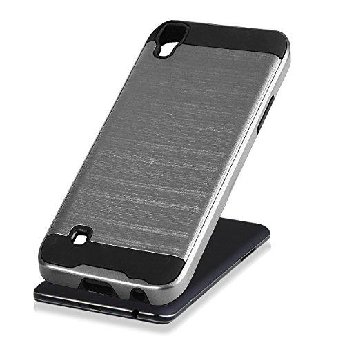 EGO® Hard Case Schutz Hülle für LG X Power Grau Metallic Effect Brushed Handy Cover Schale Bumper Etui Top-Qualität Grau