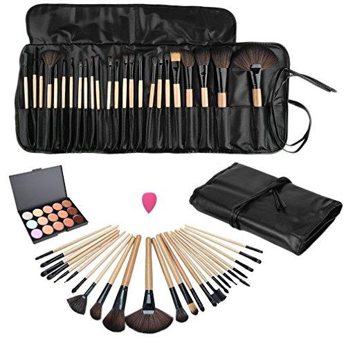 Ulable 15 Couleur Correcteur Platte + 24 pcs Pro Maquillage Cosmétique brosses + éponge Puff