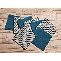 Lot de 8 lingettes réutilisables A32 les rosaces bleuté/bleu/écologique et lavables/bébé/cadeau naissance/lingettes démaquillantes/carré à démaquiller