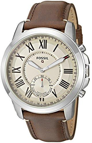 Fossil Herren Hybrid Smartwatch Q Grant - Leder - Analoge Herrenuhr im klassischen Vintage Stil mit Smartfunktionen / Für Android & iOS