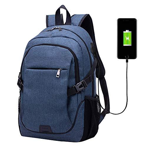 KHDJH Rucksack Business Laptop Rucksack Mit USB-Lade Anti-Dieb Frauen Männer Rucksack Schule Rucksäcke Tasche Für Männlich W blau