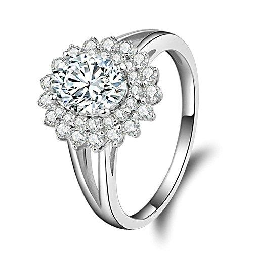 (Custom Ringe)Adisaer Ring 925 Sterling Silber Damen Runde Zirkonia Kreis Kristall Trauringe Größe 54 (17.2) Hochzeit Geschenk (Pharao Kostüm Muster)