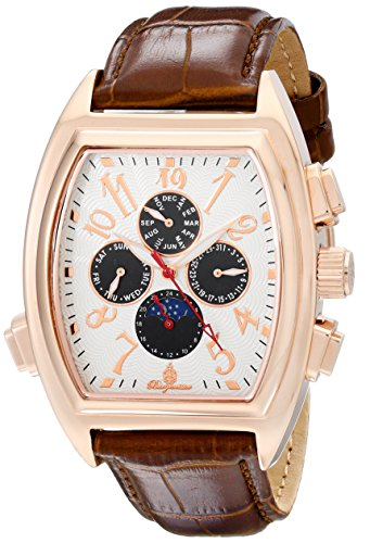 Burgmeister Men's Automatic Watch with Beige Dial Analogue Display and Brown Leather Bracelet BM131-385