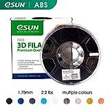 eSUN 1,75 mm ABS 3D-Drucker Filament 1 kg Spule (2,2 lbs), Maßgenauigkeit +/- 0,05 mm für die meisten 3D-Drucker, 3D-Druckstifte Filament Nachfüller, Schwarz, 1