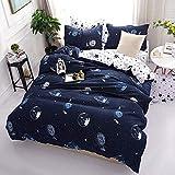 Bettbezug Set Mond Sternen Raum, 3 Stück Super Weiche und Angenehme Mikrofaser Einfache Bettwäsche Gemütlich Enthalten & Kissenbezug Betten Schlafzimmer