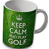 """Fun Tasse/Kaffeebecher """"Keep Calm and Play Golf"""""""